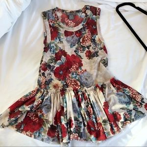 Floral top with ruffle bottom